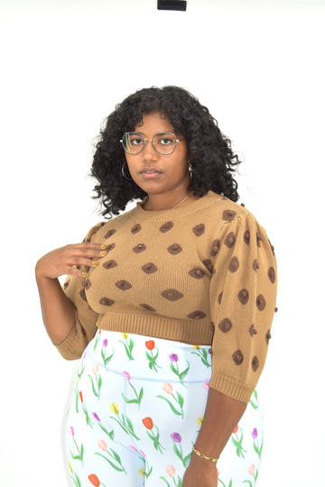 Nipple Knit Top Medium Brown V2
