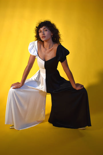 Black/White Satin Puff Sleeve Jumpsuit