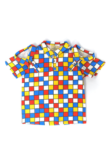 Unisex 3 Collar Primary Check Linen Polo