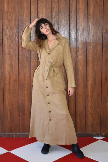 Long Linen flasher gown