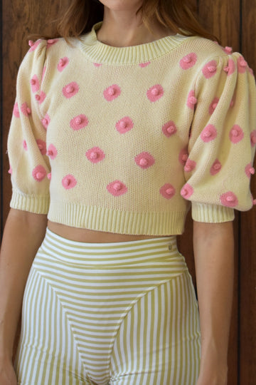 Nipple Knit Top Cream