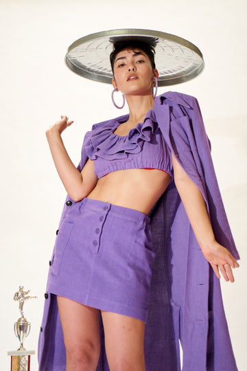 6 left - Purple Linen Mini Skirt