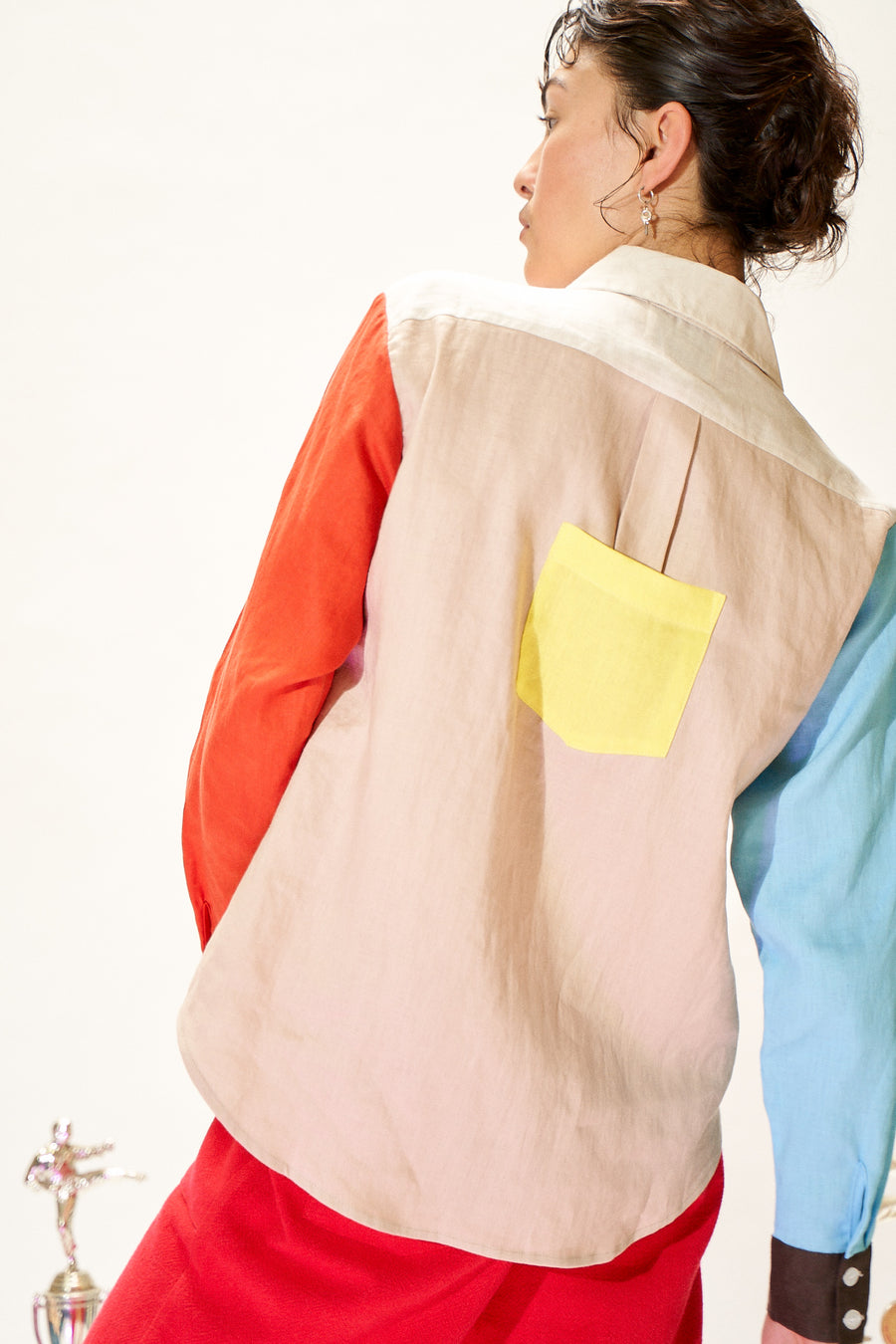 Unisex Clown ColorBlock Linen Shirt