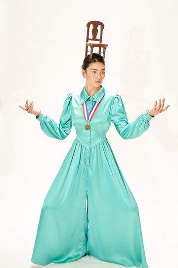 6 left - Teal Satin Jumpsuit