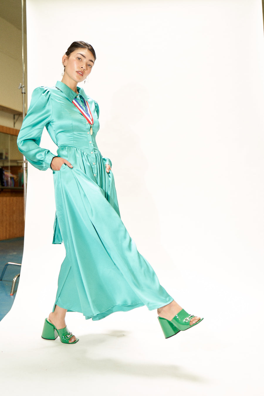 Teal Satin Jumpsuit