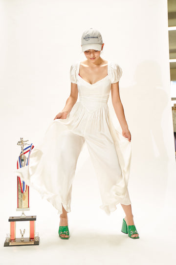White Mulberry Silk Wedding Jumpsuit