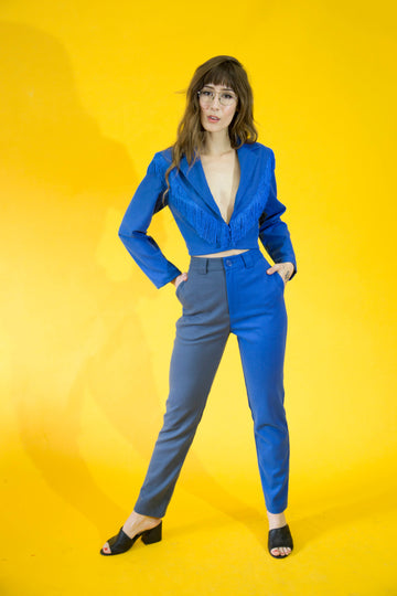 Two Tone Trousers Blue