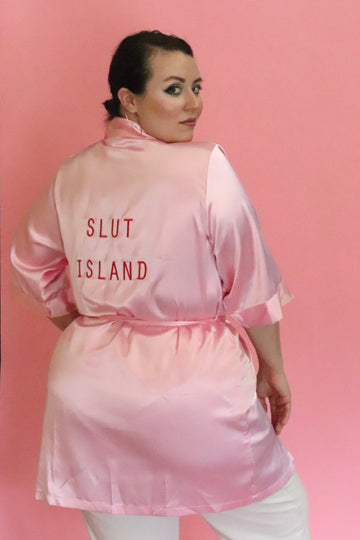 Slut Island Pink Satin Robe
