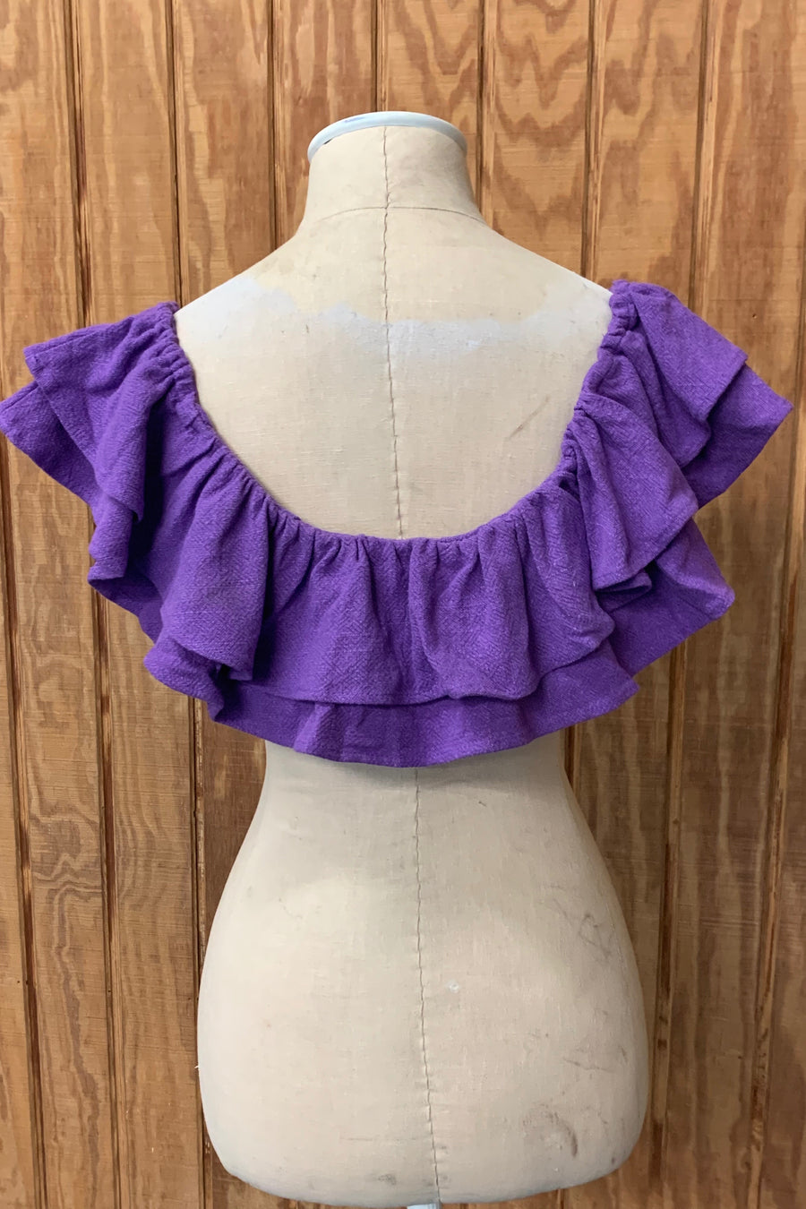 Purple Linen ruffle Top