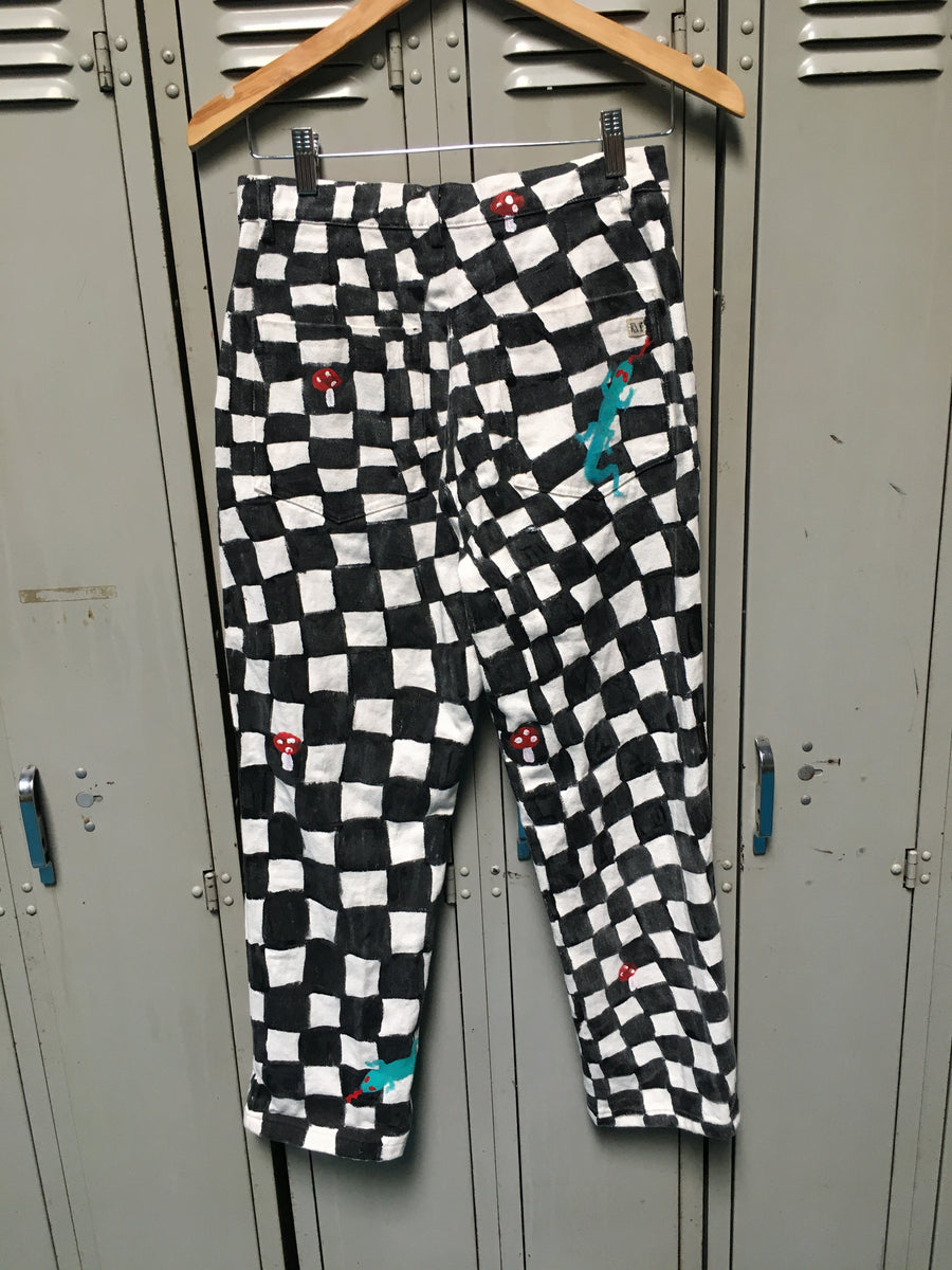 Sample Hand Painted Checkered Pants S/M