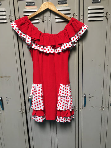 Sample Red Dots Ruffle Dress S