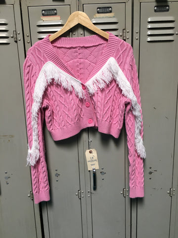 Sample Pink Knit Fringe Sweater S