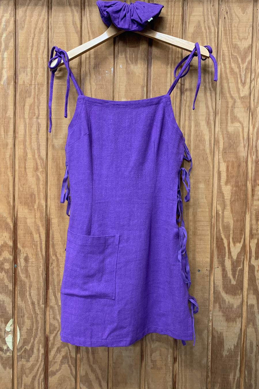 Purple Side Tie Linen Mini Dress