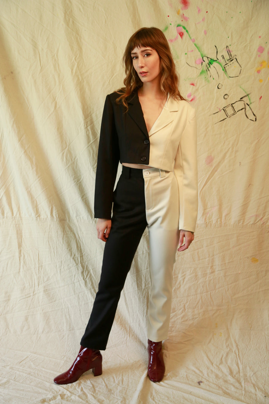 Black and White Two Tone Trousers