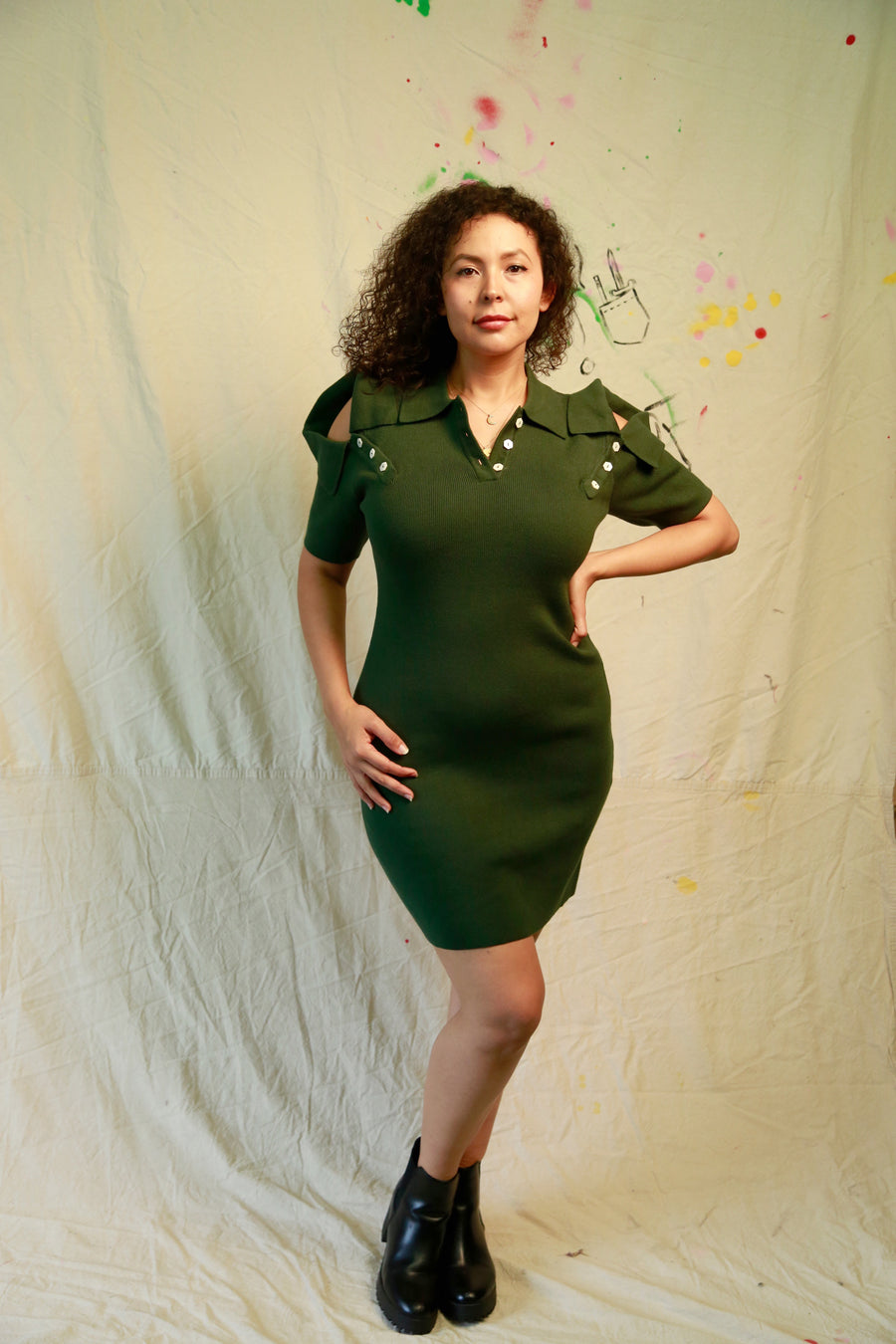 Knit 3 Collar Dress Dark Green