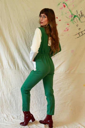 Green Utility Colorblock Jumpsuit