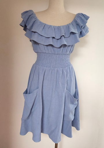 SAMPLE Blue Linen Ruffle Dress S