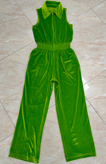 SAMPLE Stretch velvet Green Jumpsuit S/M