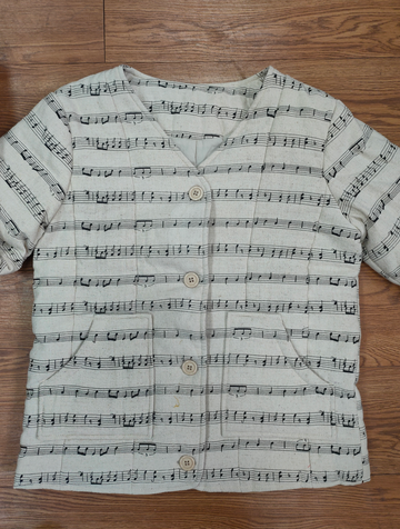 OOAK Music Note Canvas Quilted Liner jacket XS/S
