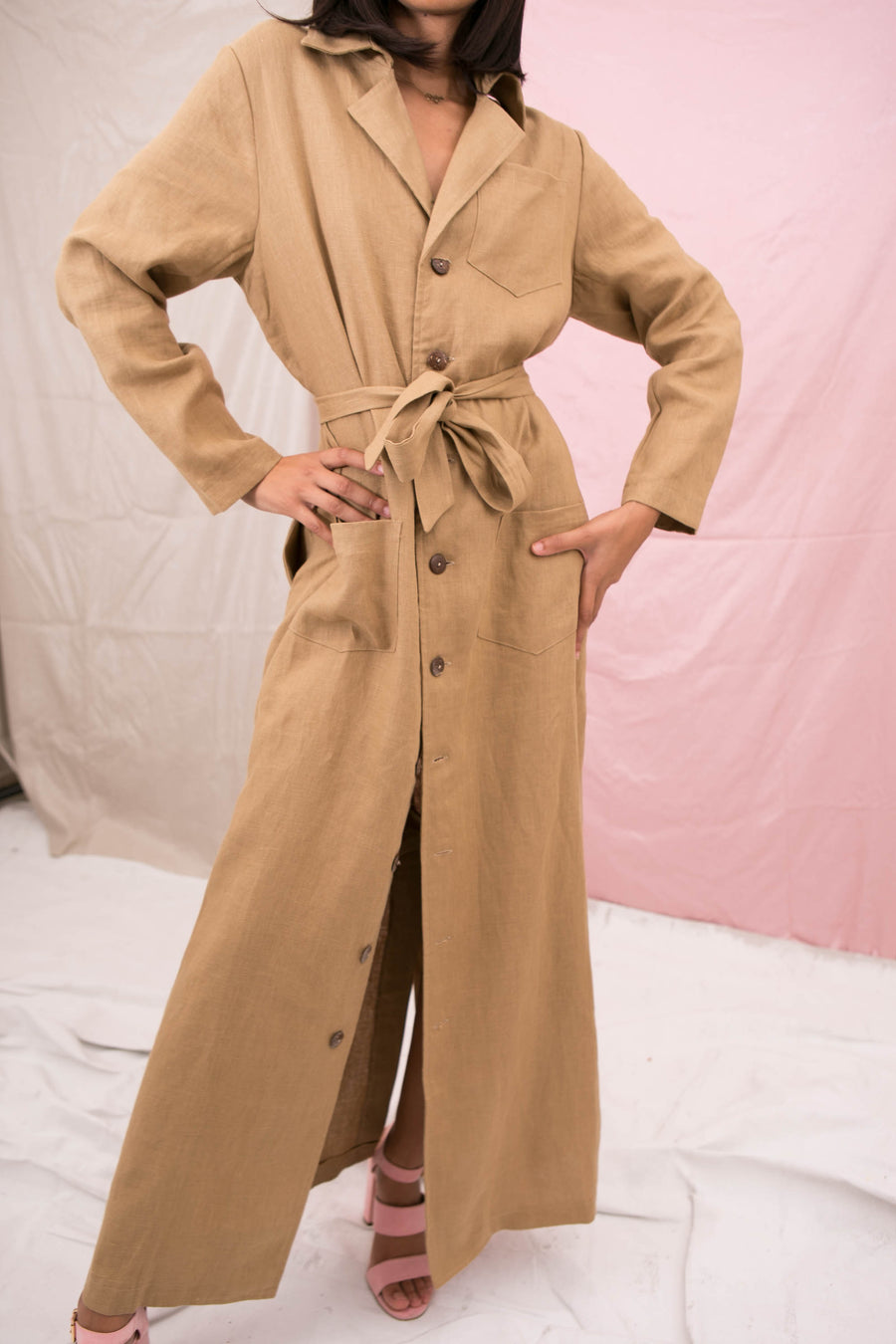 2 left - Long Linen flasher gown