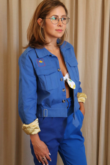 Blue Canvas Gold Satin Jacket
