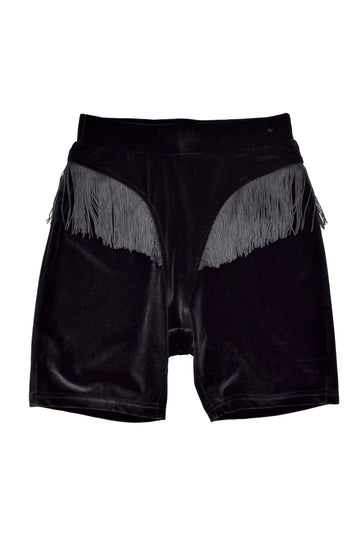 Black Velvet Fringe Bike Shorts