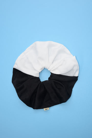 Black/White Satin Jumbo Scrunchie