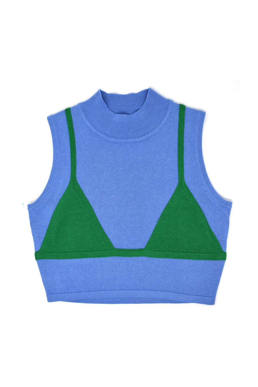 Bikini Knit Top Blue/Green