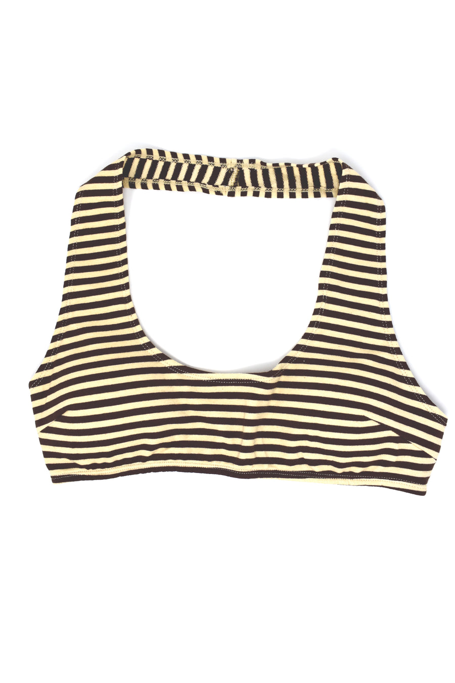 Cream/Brown Striped Halter Top