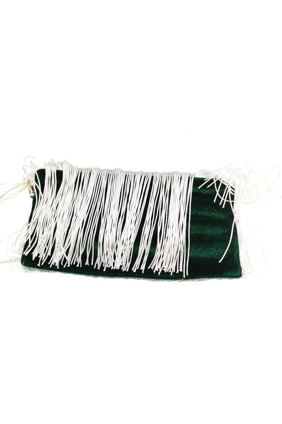 Green Velvet Fringe Mask