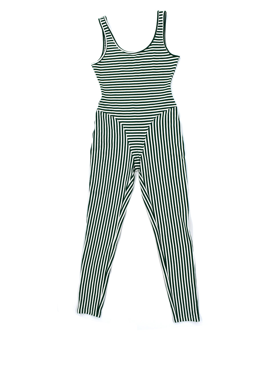 Green/White Striped Jumpsuit