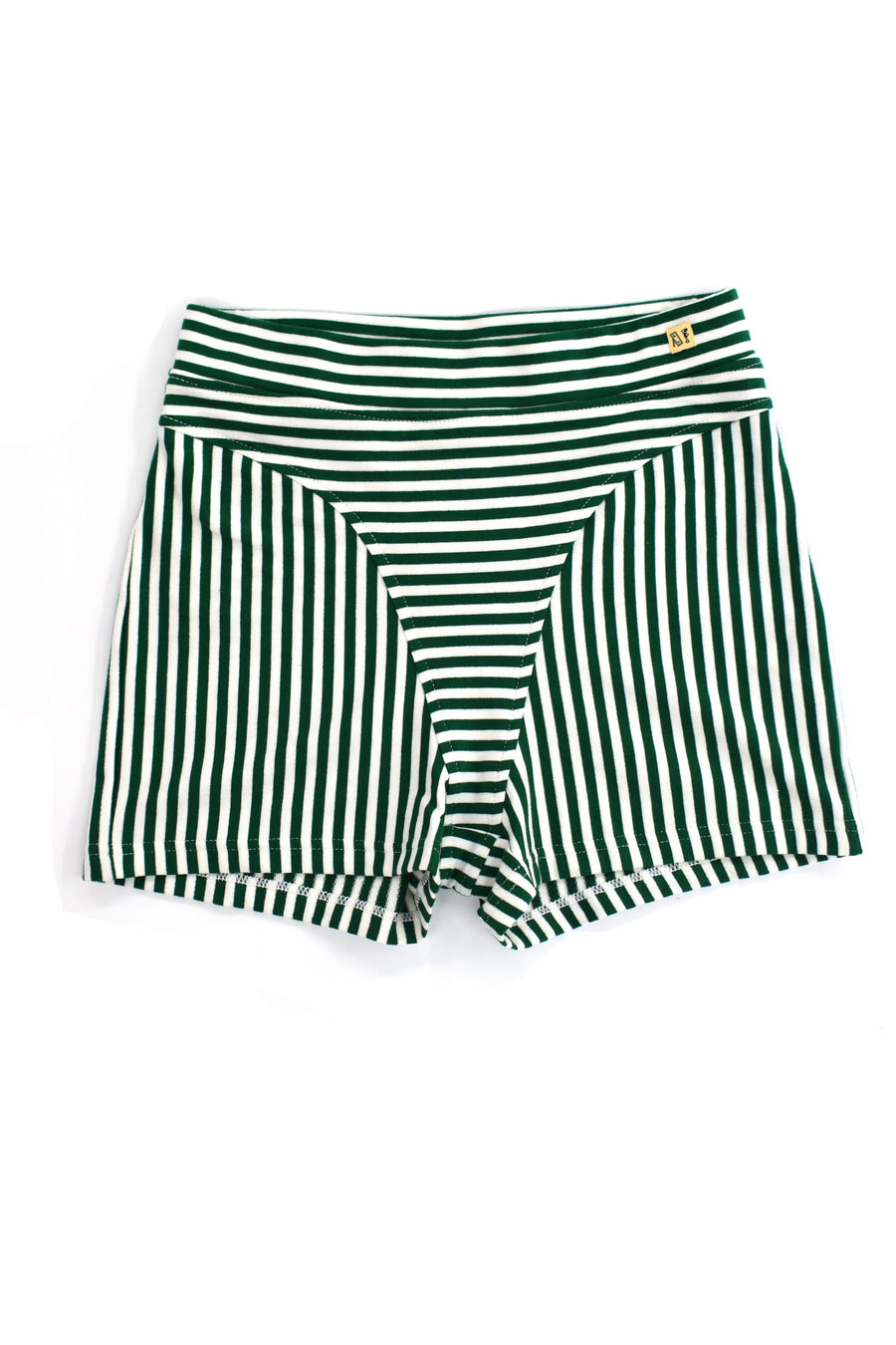 Green/White Striped Thong Short Shorts