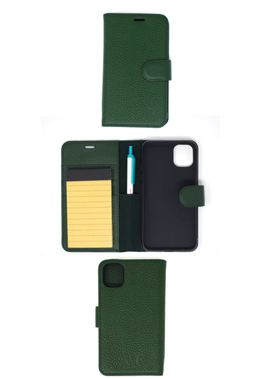 FINAL SALE Note Taker Iphone 11 Leather Wallet Dark Green