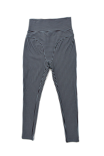 Blue/Black Striped Maternity Legging