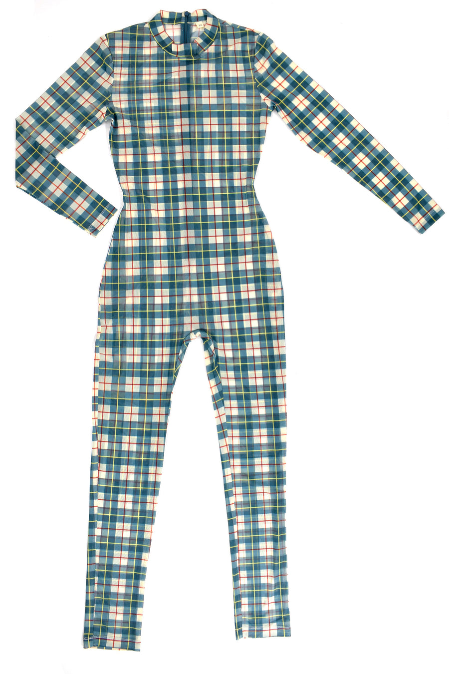 Plaid Mesh Jumpsuit