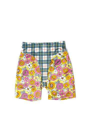 Mismatched Plaid/Floral Velvet Thong Shorts