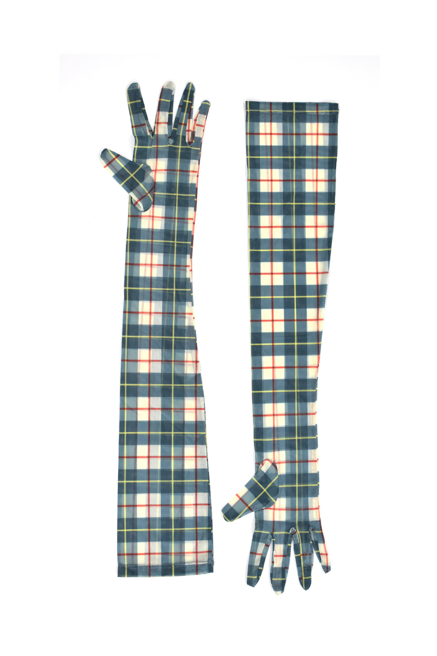 Plaid Printed Mesh Gloves