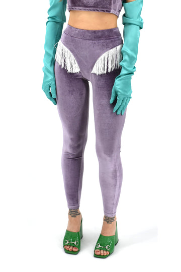 Purple Velvet Fringe Leggings