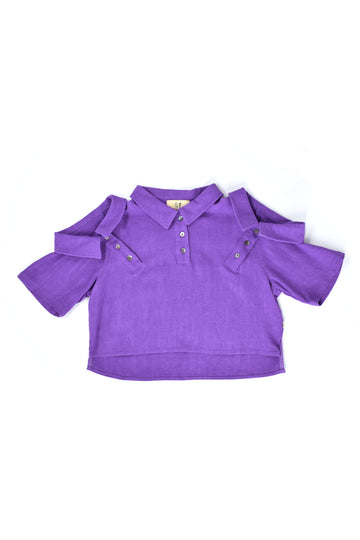 3 Collar Purple Linen Crop Polo