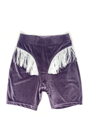Purple Velvet Fringe Bike Shorts