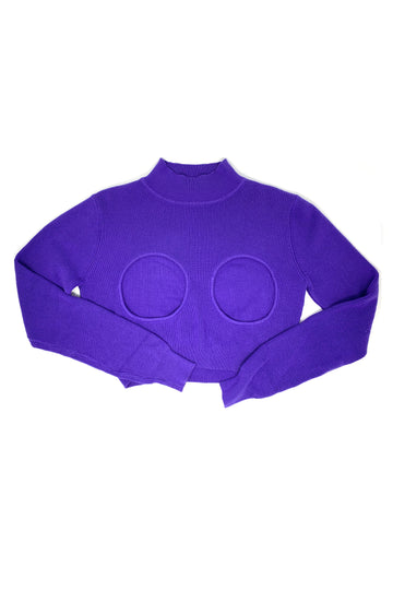 Purple Cut out Cotton Sweater