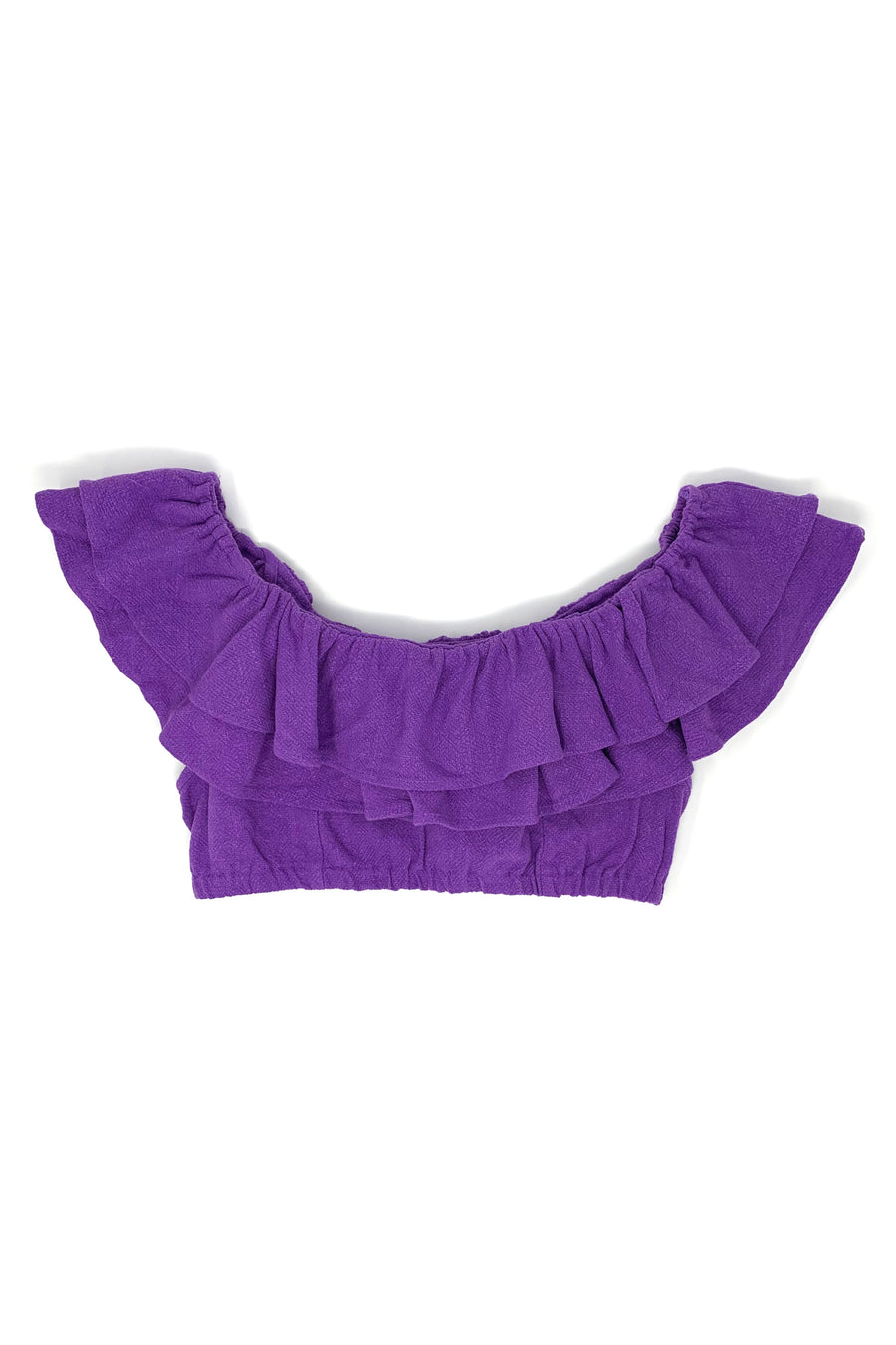 BACKORDERED Purple Linen Flamenco Crop