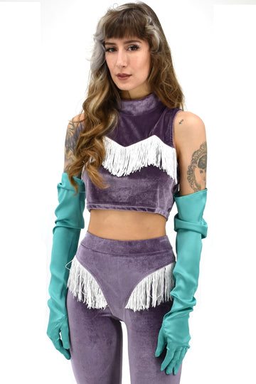 Purple Velvet Fringe Crop Top