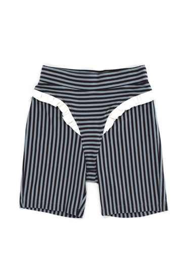 Striped Thong Shorts With Satin Ruffle