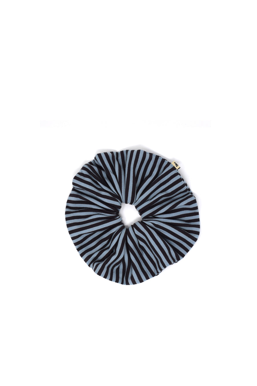 Blue/Black Striped Jumbo Scrunchie
