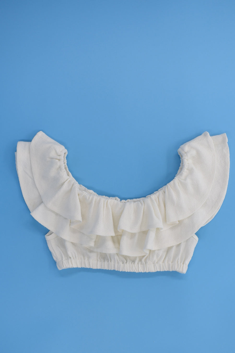 White Linen Ruffle Top