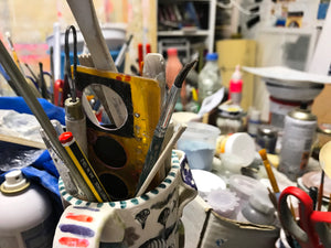 pottery tools and wiew of my art studio