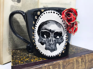 handmade skull mug with roses, gothic pottery cup