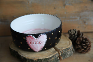 Black dog bowl | personalized dog name | FREE SHIPPING