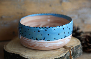 handmade ceramic dog bowl teal